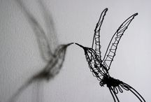 Hummingbird sculptures / A board of the hummingbird sculptures I make from paper wood and wire.