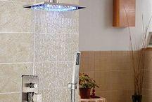 "GOWE LED Light Wall Mount Brushed Nickel 16"" Rain Shower Faucet Set Tub Mixer Tap"