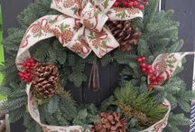 Custom Designed Holiday Wreaths / These are some of many custom designed holiday wreaths available to our customers. Requests can be made to design a wreath specific to their home colors or spruce tip container