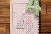 crochet letters, numbers