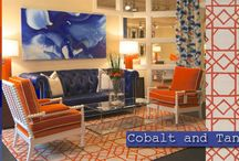 Cobalt and Tangerine / The coolness of cobalt softens the brightness of tangerine creating a happy balance for any space. Surya has several rugs, pillows, throws, and poufs to choose from in these beautiful tones.