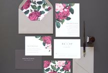 SUMMIT - Geometry and Florals / Camp and Furnace: modern, contemporary, industrial, urban, rich colours, geometric shapes, full flowers, exotic leaves, floral/geo stationery