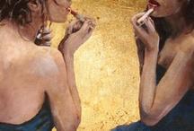 Teenager Meisje voor de spiegel / Voorbeeld om te schilderen