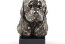 American Cocker Spaniel ARTDOG / collection, statues, jewelry, silver and gold keyring, silver and gold necklase, statue on marblebase, statue on the wall, welcome, door knocker
