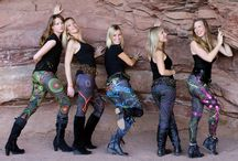 3D, UV active leggings made by Public Beta.