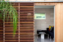 slated wood partitions