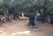 Aiyanar Temple Tamil Nadu /   The horses are offerings to the Ayyanar. In South India, particularly Tamil Nadu, the Hindu village god Ayyanar is a popularly worshiped deity.    http://asiavoyagers.com/Default.aspx