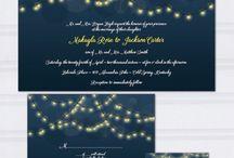 Midnight blue wedding theme / Midnight blue wedding ideas with fairy lights