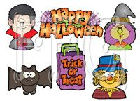 Halloween Clip Art / Fun and colorful clipart great for bulletin boards, newsletters, etc.  Find more seasonal and holiday clipart at http://bit.ly/2caib2v