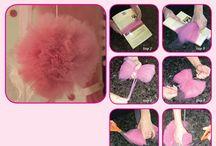 How to Make Tulle Pom-poms / For complete tutorial go to http://pieceofcakethebook.blogspot.com/2013/08/do-it-yourself-pom-poms.html