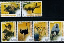 Rhinoceros Stamps / The rhinoceros is characterized by its large size, with all of the species able to reach one tonne or more in weight. The main difference between black and white rhinos is the shape of the mouth.  They generally eat leafy material, although their ability to ferment food in their hindgut allows them to subsist on more fibrous plant matter, if necessary. Adult rhinoceros have few natural predators, though young rhino can fall prey to predators such as big cats, crocodiles, wild dogs, and hyenas. Many species are under threat of extinction as a result of hunting by man, mostly because in some cultures the horn of the rhino is highly-prized for ornamental or medicinal purposes.