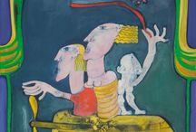 Gigi Pedroli / Artista versatile e originalissimo, si distingue per la ricchezza e la varietà dei mezzi espressivi, l'eleganza sofisticata del segno, lo smagliante e fantasmagorico gioco dei colori. Le sue opere raccontano, in modo fantastico e surreale, personaggi e situazioni della realtà che lo circonda, il gesto sicuro e il rigoroso senso della misura e del colore fanno da supporto alla piacevolezza della forma e rivelano un artista completo. http://www.gigipedroli.it/