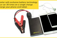 Portable Jump Starter / Jump Starter with exclusive battery technology, Starts your car 30 times on a single charge and Quick charge your phone and tablet.