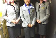 Cabin attendants on boarding / The pics of the flight attendants shot during my flight