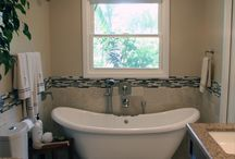 Modern Spa like Bathroom in Rancho Cucamonga / A beautiful Modren Bathroom that feels like Spa. with a beautiful Modern white Tub,, Vanity area and a doul sink done to perfection by Hi Teach Buikders.