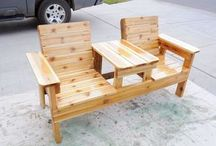 2 sitplek bank hout