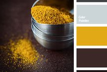Branding colours / Mustard, Green, Burnt Orange, Grey