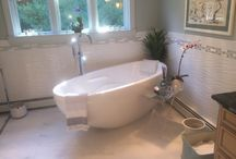 Master bath spa / Renovated a master bath damaged from ice dams last year. Removed whirlpool tub and replaced with luxurious Bain Ultra tub. Replaced all tile on floors and walls and enlarged walk -in steam shower.