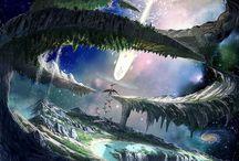 ◈¡Paisajes fantasticos! / Todo tipo de paisajes fantasticos, bosques, el universo,ciudades, ¡que se note la profundidad de la imagen!