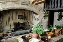 Medieval kitchen, food, banquet and ...