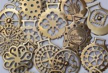 Brass horse harness medaillons