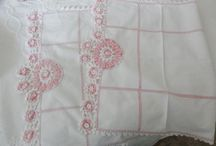 Beautiful Vintage Linens / Vintage and Antique linens featuring embroidered pillowcases, crocheted pillowcases with roses, hand embroidery, vintage doilies, vintage tablecloths, runners, hand towels and more available from the boutiques at Shabby Cottage Shops.com