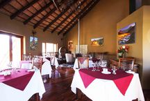 Maliba Main Lodge and Restaurant / Images of the main building  and Restaurant where guests may relax and enjoy delicious gourmet meals or a relaxing drink at the bar.