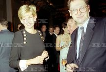 17 December 1996: Princess Diana with the editor of The Sunday Times at the Times' Christmas Party at Banqueting House in Whitehall