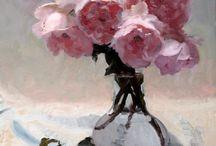 Akryl/Olja- Blommor