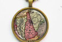 Map Pendant Necklaces / by Natasha Lee