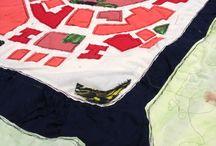 My maps / Cartografías textiles es el conjunto de los mapas que hago con telas e hilos, bordando o cosiendo, inspirándome en fotos e imágenes cenitales que han producido en mi sensaciones destacadas