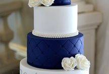 Blue Silver and white wedding
