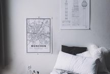 Scandinavian Bedrooms / Scandinavian bedrooms we love. Decorate with map-prints from Mapiful.com