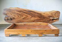 SLAB BED / Кровать из цельного дерева