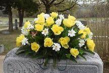 Cemetary silk flower arrangements