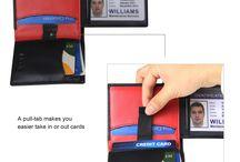 Men RFID Blocking Bifold Minimalist Trifold Leather  Wallets