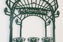 Decoration Art Nouveau Metropolitain / Wonderful wall decoration depicting a Art Nouveau style parisian subway station of the begining of XX century according to architect Hector Guimard. Steel laser cut 66 x 86 cm / 26.5 x 34.5 in. Moss green mat-Powder coating paint http://www.delorentis.eu/art-nouveau-decoration-metropolitain.html  © Tolonensis Creation www.tolonensis.com  You are interested in ?  > Please contact info@tolonensis.com