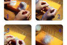 """Corso di infeltrimento """"metodo a secco"""" di collana """"La mia carota """" . / Per lavorare a noi serve: 1. lana cardata di due colori (grigio e bianco); 2. spugna; 3. gli aghi per infeltrire sono di misure differenti; 4. Il naso e gli occhi; 5. i colori acrilici, lacca acrilica, i pennellini di misura 000 o 00; 6. la carota di """"fimo""""; 7. accessori per bigiotteria; 8. la colla; 9. le forbici per manicure; 10. pinze a becco tonde per gioielli P.S. il naso, gli occhi e la carota bisogna farli per primi. E piu importante la pazienza e il buon umore :) Allora iniziamo..."""