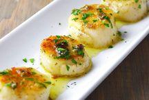 Herb butter scallops