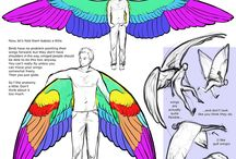 Tutorial - Drawing Wings / amazing drawings and reference about wings, wings and more wings