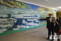 Security Guard Turned a School Into An Art Gallery / After 25 years of teaching art in several schools, Russian Valery Khramov retired and spent a whole summer alone painting the school walls