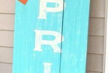 Wood signs Spring