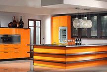 Orange for interior / Orange is a popular bright color for interior designs. It's active and interesting and it goes well with many other different colors.