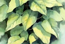 Акварель - Природа - листики,ветки