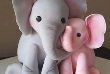 Fondant  elephant figures.