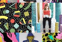 retro / Retro print and t-shirt logo designs, rad vintage skiwear, neon colours, 80s patterns