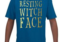 RESTING WITCH FACE KIDS T SHIRT GOL