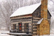 Cabins in Winter / Log cabins and homes all cozy and beautiful during Winter.