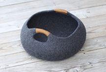 Corbeille pour chat en feutre de laine
