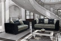 Luxury Sofa Set Suite Black Silver Beautiful Modern Classic Cushions Large Seat